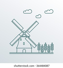 Windmill and wheat ears. Mill line symbol. Agriculture landscape. Colorful outline vector illustration in flat style.