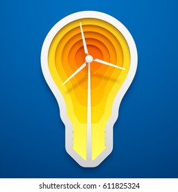 Windmill within lightbulb shape. Paper art for the Earth Day decoration. Vector illustration of alternative energy idea. Concept design for cards, posters, flyers, stickers.
