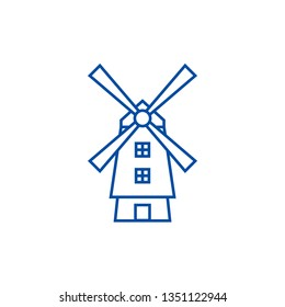 Windmill,holland line icon concept. Windmill,holland flat  vector symbol, sign, outline illustration.