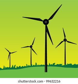 windmills art vector illustration on green grass