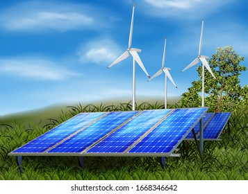 Windmills for energy, solar panels. Vector illustration.