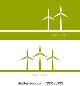 Windmills receiving wind energy.