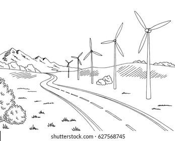 Windmills road graphic black white landscape sketch illustration vector