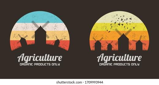 Windmills silhouettes. Retro backgrounds vector set. Rural landscape