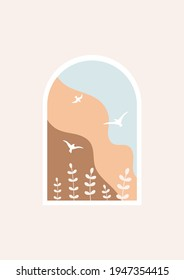 Window with abstract landscape. Silhouette of flowers and birds. Vector scenery illustration. Smooth shapes, beige background. Natural brown colors and blue sky