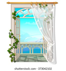Window with access to the balcony. Vector.