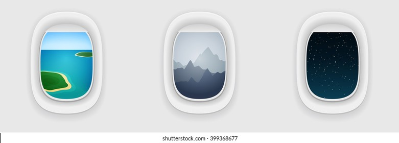 Window of airplane, long flight concept. Vacation, traveling template. Day, evening and night shift during flight.