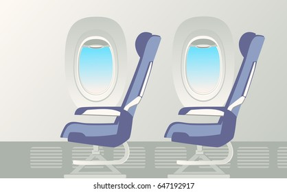 Window and armchair inside a passenger airplane. Two armchairs and Porthole. Vector illustration.
