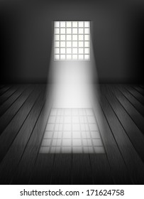 Window with bars. Prison interior