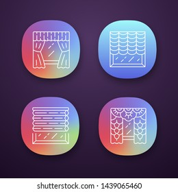 Window blinds app icons set. Austrian, cellular shades, lace curtains, window treatment set. Office interior design. UI/UX user interface. Web or mobile applications. Vector isolated illustrations