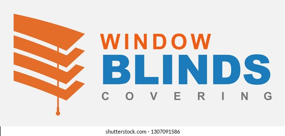 Window blinds covering logo company,