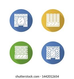 Window blinds flat design long shadow glyph icons set. Austrian, cellular shades, lace curtains, window treatment set. Room darkening decoration. House decor. Vector silhouette illustration