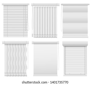Window blinds. Horizontal, vertical closed and open jalousie. Darkening blind curtains, office room interior elements vector louvers mockups