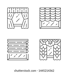 Window blinds linear icons set. Austrian, cellular shades, lace curtains, window treatment set. House interior design. Thin line contour symbols. Isolated vector outline illustrations. Editable stroke