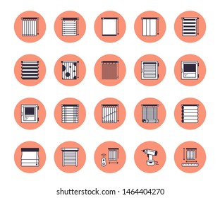 Window blinds, shades line icons. Various room darkening decoration, roller shutters, roman curtains, horizontal and vertical jalousie. Interior design signs for house decor shop.