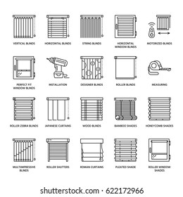 Window blinds, shades line icons. Various room darkening decoration, roller shutters, roman curtains, horizontal and vertical jalousie. Interior design thin linear signs for house decor shop.