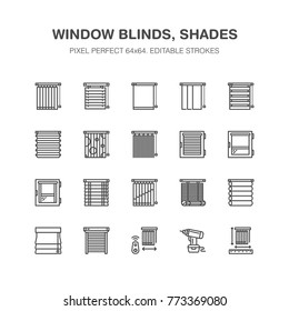 Window blinds, shades line icons. Various room darkening decoration, roller shutters, roman curtains, horizontal and vertical jalousie. Interior design signs for house decor shop. Pixel perfect 64x64.