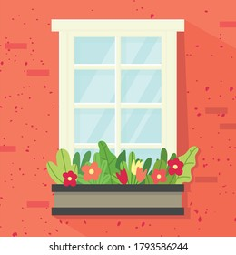 Window, box with flowers. red wall. Vector illustration in flat style.