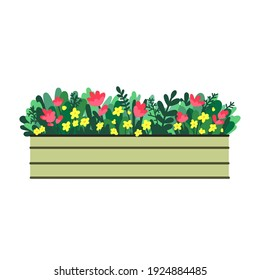 Window box with red and yellow flowers. Vector illustration in flat style.