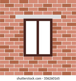 window in a brick building with barred background. vector illustration
