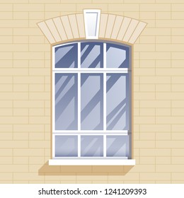 Window and brick wall vector illustration. Architectural detail.