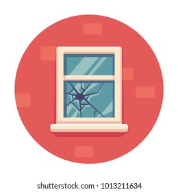 Window with broken glass on red brick wall. Simple cartoon vector illustration. Broken windows theory concept.