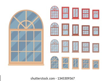 Window for building fitted with glass in a frame. Custom shaped set. Home and office design for residential project. Vector flat style cartoon illustration isolated on white background