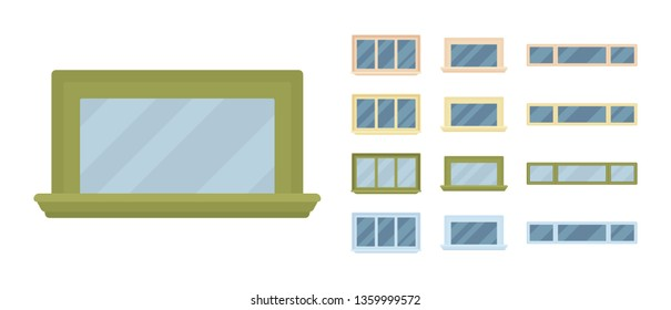 Window for building fitted with glass in a frame. Small rectangle facade elements. Home and office design for residential project. Vector flat style cartoon illustration isolated on white background