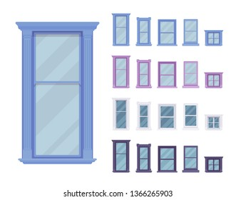 Window for building fitted with glass in a frame. Facade elements for house exterior. Home and office design for residential project. Vector flat style cartoon illustration isolated, white background