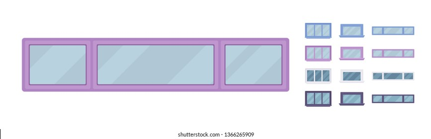 Window for building fitted with glass in a frame. Small long facade elements. Home and office design for residential project. Vector flat style cartoon illustration isolated on white background
