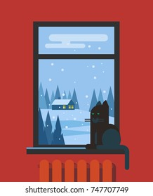 Window with cat and view of the landscape. Vector flat