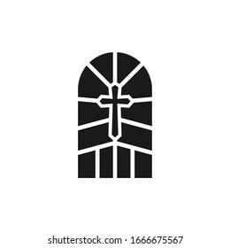 window Church icon, Christian church cross icon. Religious or vintage symbol.