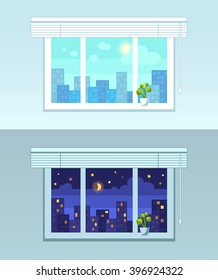 Window and city view.  Night and day versions. Flat style vector illustration.