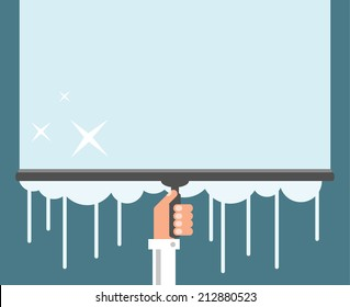 Window cleaning background, flat design vector illustration
