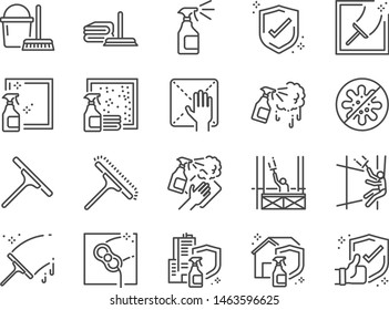 Window Cleaning line icon set. Included icons as cleaner services, clean, career, job, occupancy, Window sponge and more.