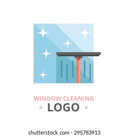 Window cleaning logo concept. Creative vector illustration