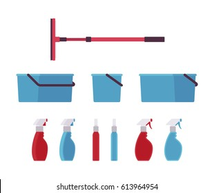 Window cleaning tools, equipment, home supplies and professional product, mop with squeegee and telescopic pole, plastic bucket, glass spray bottle, isolated on white background, different positions