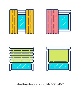 Window coverings and curtains color icons set. Panel pair, tracks, pleated blinds, roller shades. Living room, kitchen decoration. Interior design, home decor shop. Isolated vector illustrations
