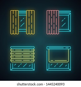 Window coverings and curtains neon light icons set. Panel pair, tracks, pleated blinds, roller shades. Room decoration. Interior design, home decor shop. Glowing signs. Vector isolated illustrations