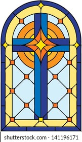 Window cross , vector illustration in stained glass style