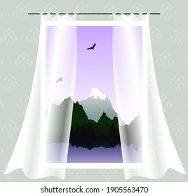 Window with curtains with views of the mountains, the sea and birds soaring in the sky.