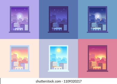Window day time view. Sunrise sun dawn morning noon sunset dusk afternoon day and night stars at city house windows apartment colorful purple orange blue pink cartoon vector concept illustration