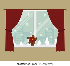 Window, decorated with Christmas decoration. There are red curtains, white snowflakes, silhouettes of Christmas trees in the picture. There is also a flower poinsettia on the windowsill. Vector image