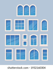 Window design. Glass various types architectural outdoor object garish vector collection