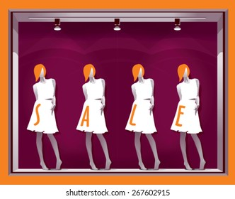 window display with mannequins and text SALE on a purple background