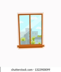 Window and door cartoon colorful vector illustration with urban city architecture buildings landscape with trees, sky. House apartment entrance corridor flat design. Home exit interior view concept.