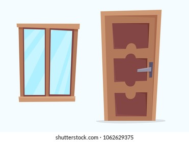 Window and door. Flat cartoon style vector illustration.