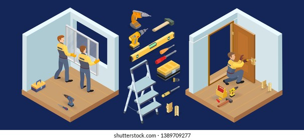 Window and door installing service. Isometric constraction house or interior repairs icons. Worker in uniform, professional tools, window, sill and door leaf. Vector flat 3d illustration.