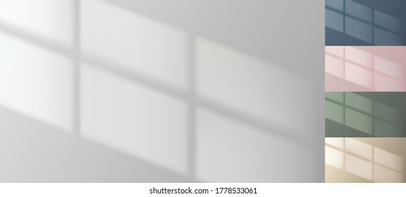 Window drop shadow on empty wall. Minimal background. Pink, blue, green, beige collection. Interior mockup. Photorealistic reflection. Real life room template. Vector illustration.