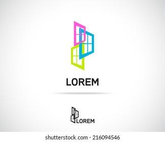 Window Emblem. Logo Symbol Element. Vector Icon